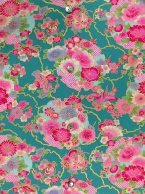 花に金彩雪輪/ターコイズ (税抜き15,000円)my-323