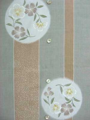 変わり織り浴衣生地/縞に花の丸 ※3L製作可  (税抜き価格15,000円)ky-934