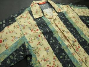縞に和の花・ネイビー  ※現品のMサイズ・半袖のみ (税抜き価格15,000円)ge-393