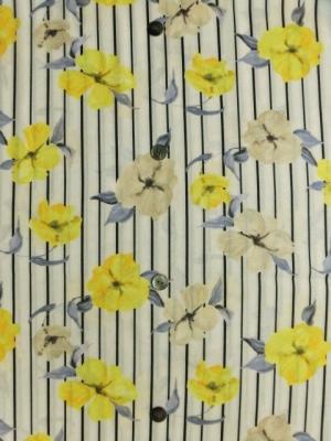 ストライプに欧風花柄/黄色の花 (税抜き価格15,000円)ay-098
