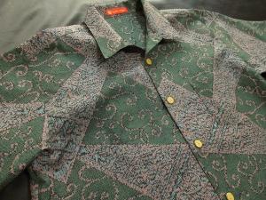 【正絹】紬織り「裂取りに唐草文様」 ※現品のLサイズ・半袖のみ (税抜き価格30,000円)ge-387