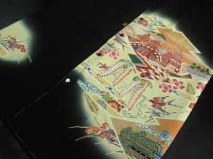 【正絹】京友禅黒留袖創作黒留袖使用「紅型文」 (税抜き価格40,000円)sk-272 ※長袖は不可