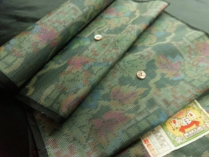 【正絹】アンティーク本場大島紬「リーフ」 (税抜き価格35,000円)sk-251
