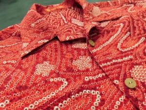 【正絹】伝統工芸鹿の子本疋田/総絞りアロハシャツ「流水」 ※現品のMサイズ・半袖のみ (税抜き価格40,000円)ge-367
