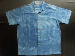【紅梅織り浴衣地使用】 1点物!藍染絞り加工 ※現品のMサイズ・半袖のみ (税抜き価格17,000円)ge-360