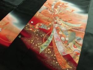 【正絹】京友禅創作黒留袖/熨斗 (税抜き価格50,000円)sk-242 ※長袖は不可
