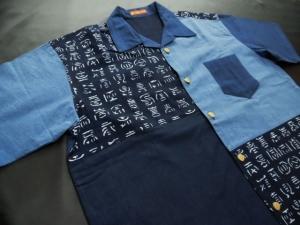 天然藍染/切り替え仕立て ※現品の2Lサイズ・半袖のみ (税抜き価格20,000円)ge-316
