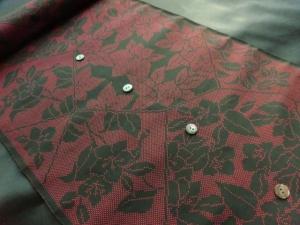 【正絹】大島紬「元(モト)」絣/裂取り花柄」 (税抜き価格35,000円)sk-227