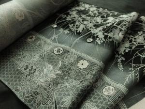 【正絹】京染め小紋/紋意匠「梅雨芝に蝶」 (税抜き価格35,000円)sk-225