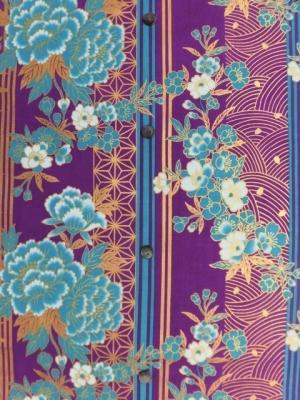大正ロマン/縞に牡丹  (税抜き価格15,000円)my-394