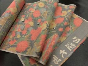 【正絹】アンティーク本場大島紬「花」 (税抜き価格35,000円)sk-208