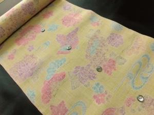 【正絹】京都西陣紬「蝶に花」 (税抜き価格30,000円) ※半袖のみオーダー可。sk-198