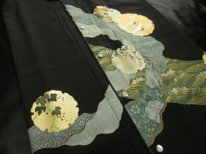 【正絹】京友禅黒留袖創作黒留袖使用「雪輪文様」 (税抜き価格50,000円)sk-226