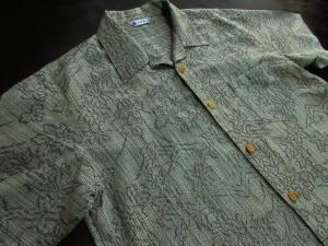 【正絹】越後紬使用アロハシャツ「草木柄」 ※現品のLサイズ・半袖のみ (税抜き価格30,000円)ge-406