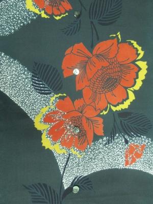 本染め浴衣生地/大輪の赤い花 (税抜き価格15,000円)my-495