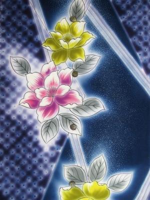 【引き染め】高級ぼかし染め浴衣生地使用/疋田染めに八重桜(税抜き価格18,000円)my-518