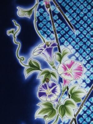 【引き染め】高級ぼかし染め浴衣生地使用/疋田染めに朝顔(税抜き価格18,000円)my-515