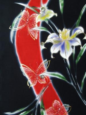 【引き染め】高級ぼかし染め浴衣生地使用/百合に蝶(税抜き価格18,000円)my-514