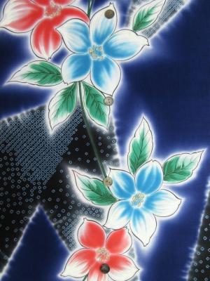 【引き染め】高級ぼかし染め浴衣生地使用/疋田染めに百合(税抜き価格18,000円)my-512