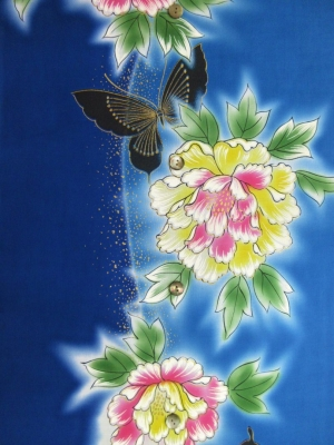 【引き染め】高級ぼかし染め浴衣生地使用/蝶に八重桜(税抜き価格18,000円)my-508