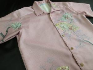 【正絹】松に扇文 ※現品の2Lサイズ・半袖のみ (税抜き価格30,000円)※ge-422