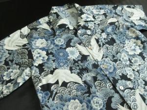銀加工/鶴に牡丹 ※現品のLサイズ・半袖のみ (税抜き価格15,000円)ge-419