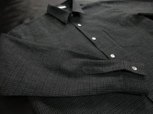 久留米絣使用「ちぢみ織り/黒」※現品のLサイズ・長袖のみ(税別18,000円)ge-426